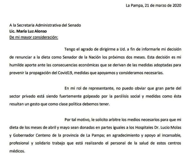 Marino dona su sueldo de senador a hospitales pampeanos