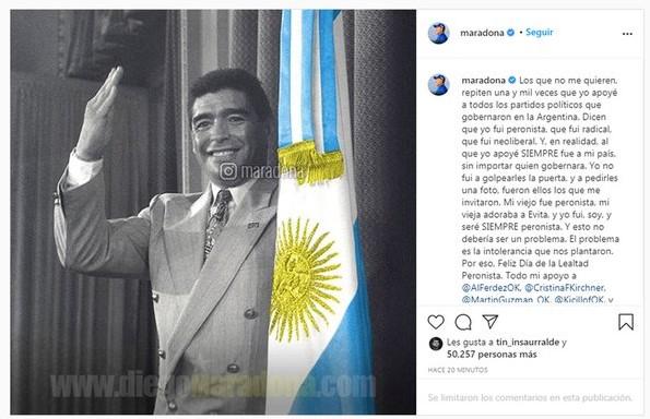 """""""Yo fui, soy y seré siempre peronista"""", aseguró Diego Maradona"""
